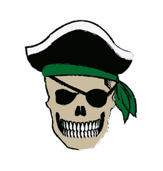 Pirate skull wearing a pirate captains hat and an vector