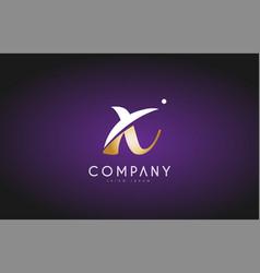 X alphabet letter gold golden logo icon design vector