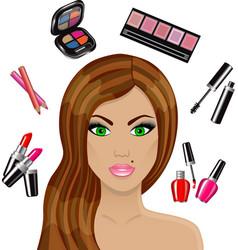 beautiful woman and various cosmetics vector image