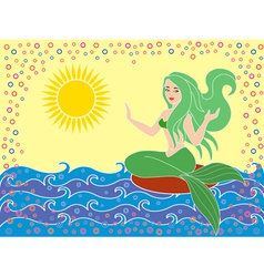 Mermaid on the sea waves vector