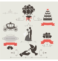 Set of vintage elements for wedding invitation vector