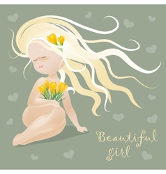 Beautiful girl with flowers vector