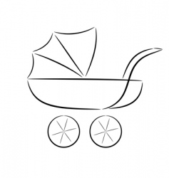 Cartoon silhouette of a pram vector