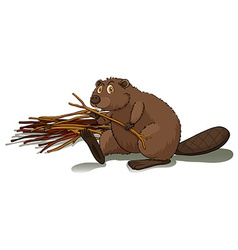 Beaver holding a stick vector
