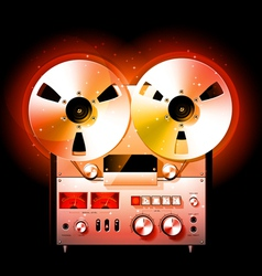 Reel to reel stereo tape deck recorder vector