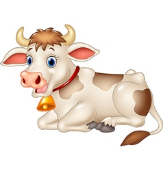Cartoon funny cow sitting isolated vector