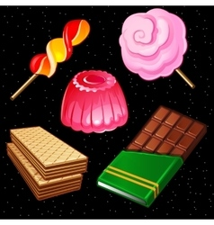 Compositions of sweets five different icons vector