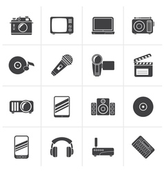 Black media and technology icons vector
