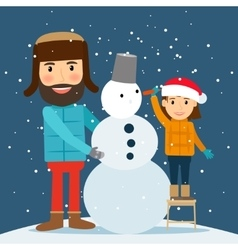 Happy winter time snowman dad and daughter vector