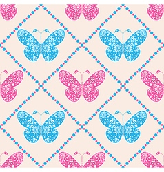 Pattern with blue and pink bg with butterfly vector