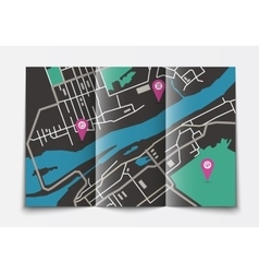 Open paper city map vector