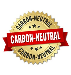 Carbon-neutral 3d gold badge with red ribbon vector