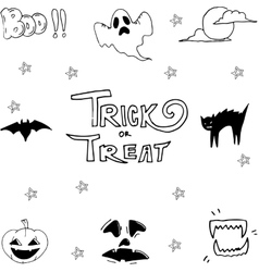 Set of halloween scary doodle vector
