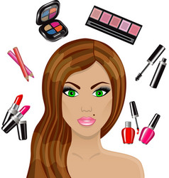Beautiful woman and various cosmetics vector