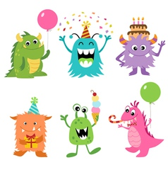 Birthday monsters vector