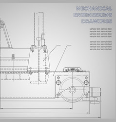 Black mechanical engineering drawings on a gray vector
