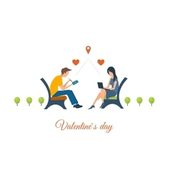 Boy and girl talking on the internet vector