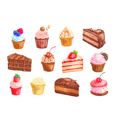 cake and cupcake dessert watercolor set design vector image vector image