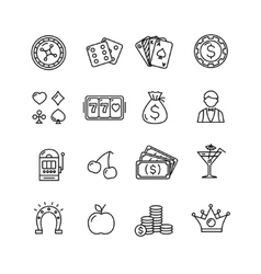 Casino Icon Black Outline Set vector image