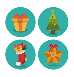 christmas decorative icons vector image vector image