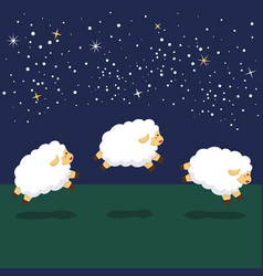 Counting jump sheep at night background vector