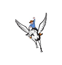 Cowboy riding pegasus flying horse cartoon vector