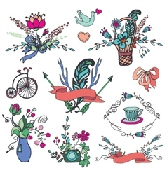 Doodle floral grouphand sketch vintage elements vector image
