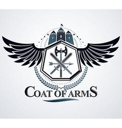 Emblem vintage heraldic design vector