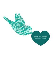 Emerald green plants birds holding heart vector
