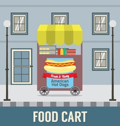 Food cart in front of vintage building ill vector