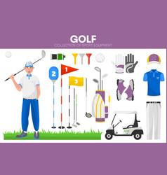 golf sport equipment golfer player garment vector image vector image