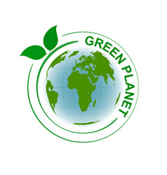 Green planet symbol with map and green leaves vector