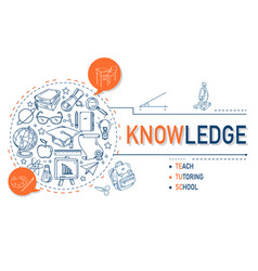 knowledge icons collection for education vector image