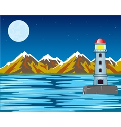 Lighthouse by night vector