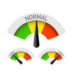 low normal and high gauges vector image