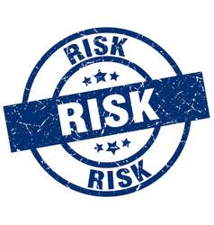 Risk blue round grunge stamp vector