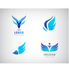 set of blue wings logos vector image