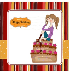 sexy young woman sitting on a big cake vector image