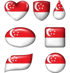 Singapore Flag in various shape glossy button vector image vector image