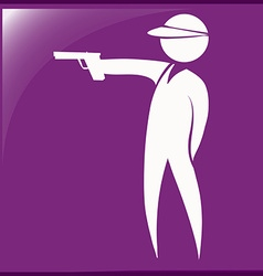 Sport icon for shooting gun on purple background vector image