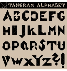 Tangram alphabet black vector