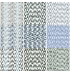 Waves seamless patterns set vector image vector image