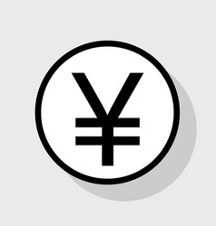 Yen sign flat black icon in white circle vector