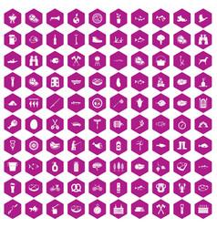 100 bbq icons hexagon violet vector