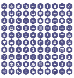 100 womens accessories icons hexagon purple vector