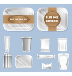 Set of food trail and white polyethylene vector