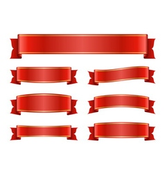 Red ribbon banners set silk design vector