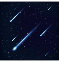 Night Sky with Falling Stars on Cosmos Background vector image