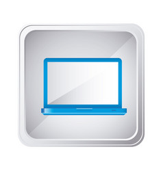 Emblem blue laptop icon vector