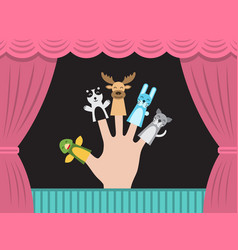 Children puppet theatre vector